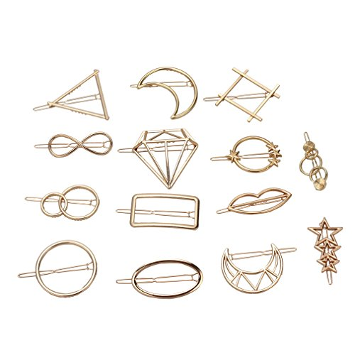 ANBALA Minimalist Dainty Geometric Metal Hairpin 14pcs Hair Clip Clamps for Women Girls, Circle, Triangle, Rhombus, Star, Moon, Diamond, Infinity etc