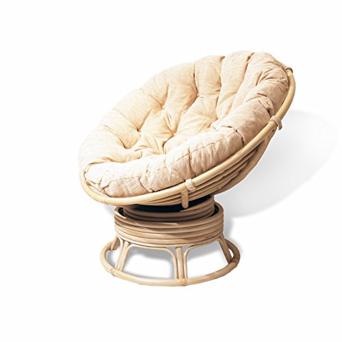 Rattan Wicker Swivel Rocking Round Papasan Chair with Cushion White Wash (Papasan Swivel Chair Cushion)