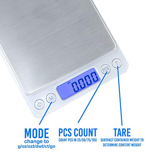 Kingwin Smart Digital Scale In Silver Color, Accurate & Quick Reading, 60 Seconds Auto Shut-Off, with 2 Clear Bowls, Black Light Display, Tare Range Full Capacity, Compact Design, Lightweight, Klcd-50
