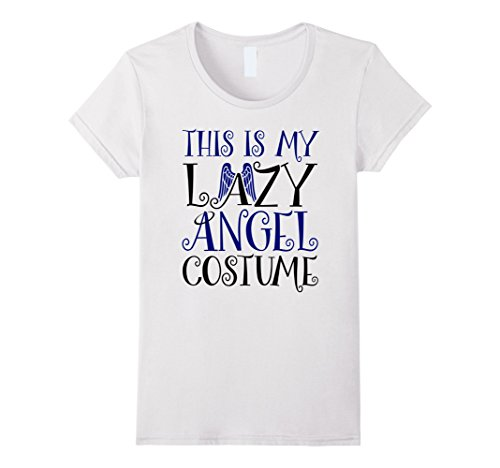 [Womens Halloween Lazy Angel Costume Funny T-shirt Large White] (Lazy Halloween Costumes For Women)