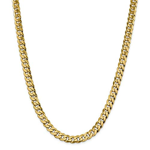 Roy Rose Jewelry 14K Yellow Gold 8.25mm Beveled Curb Chain ~ length: 22 inches ()