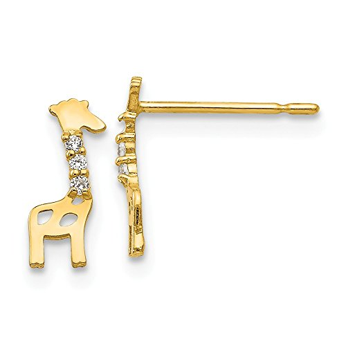 14k Yellow Gold Cubic Zirconia Cz Childrens Giraffe Post Stud Earrings Animal Wild Fine Jewelry Gifts For Women For Her ()