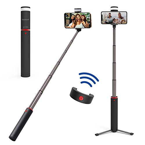 Selfie Stick Tripod, Galsoar Extendable Bluetooth Selfie Stick with Wireless Remote Shutter and Fill Light for iPhone Xs/Xs Max/XR/X/8/8P, Galaxy S10/9/9/Note, Google Pixel and All Android Phones