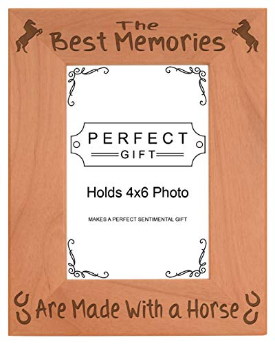 ThisWear Horseshoe Picture Frame Memories Made with a Horse Frame Wood Engraved 4x6 Portrait Picture Frame