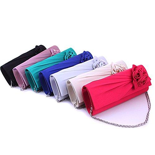 Evening Clutch Handbag Strap Bag Hilai Rose Satin Shoulder With Women's BqRwng5