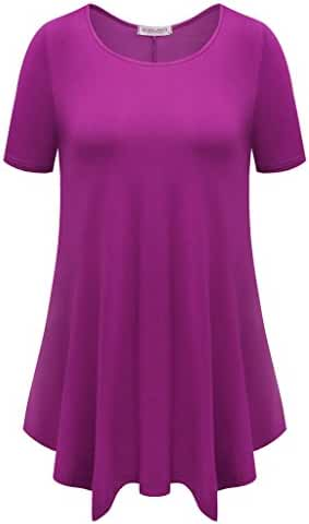 BELAROI Womens Basic Solid Loose Fit Short Sleeve Tunic T Shirt