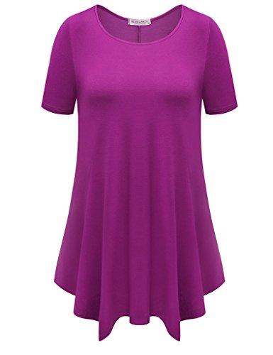 BELAROI Womens Basic Solid Loose Fit Short Sleeve Tunic T Shirt (2X, (Stretch Tee T-shirt)