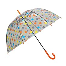 SMATI Stick Umbrella dome transparent - Colorful dots for Women and Kids