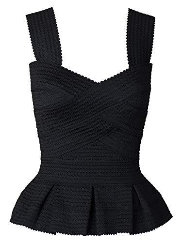 Anna-Kaci Womens Juniors Sexy Romantic Bodycon Peplum Bandage Party Tank Top, Black, X-Small