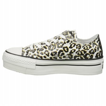 0965O sneaker zeppa CONVERSE ALL STAR bianco/nero scarpe donna shoes women [39 EU-6 UK]
