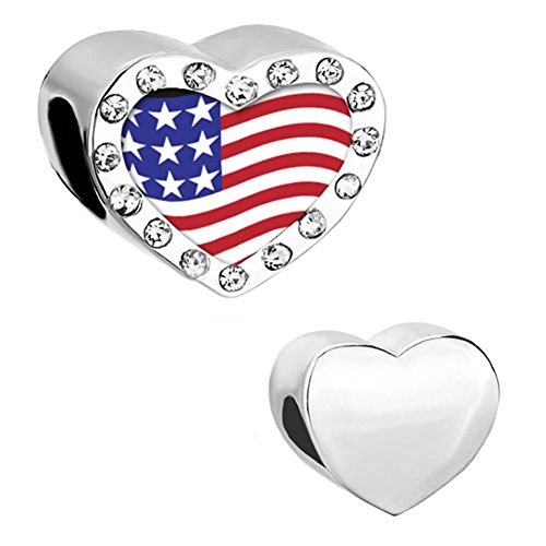 CharmSStory American Usa US Flag Charms Heart White Synthetic Crystal Photo Beads For - Flag Charm Us