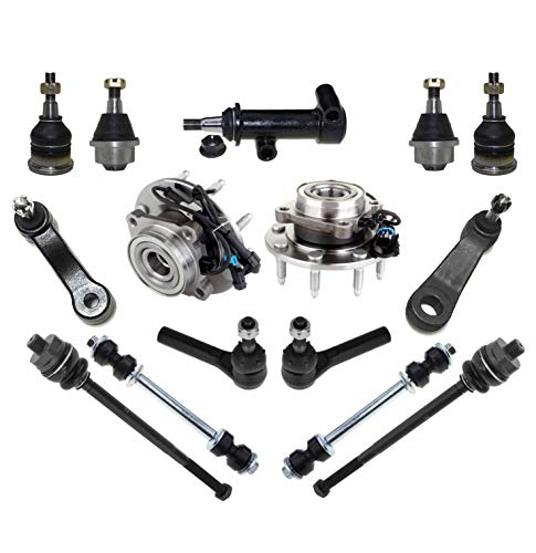 Chevrolet Avalanche 2500 Hub - PartsW 15 Pc Front Wheel Hub & Bearing Assemblies Upper & Lower Ball Joints Pitman Arm Idler Arm Assembly Tie Rod End Suspension for CHEVROLET GMC HUMMER/AVALANCHE 2500 / SIERRA 3500 / H2