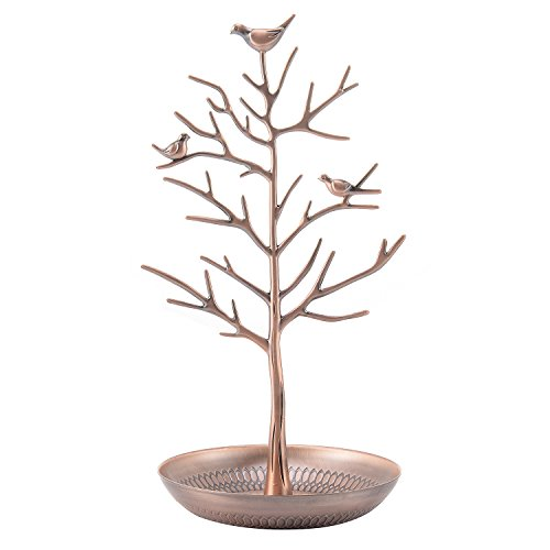s Tree Stand Jewelry Display Necklace Earring Bracelet Holder Organizer Rack Tower Bronze ()