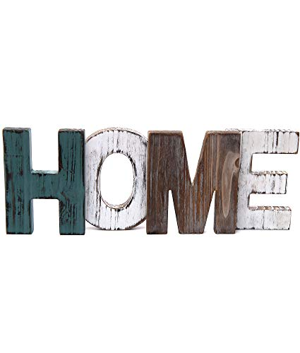 Merry Expressions Rustic Wood Home Sign Decoration | Wall Mount or as Freestanding Decoration on Table or a Fireplace Mantel | Perfect Cutout Word Sign Accent for a Family Living Room Centerpiece ()