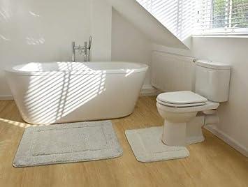 2 Teiliges Badematten Set Rechteckiges Badezimmer Teppich Und Toiletten  Matte Sett   Creme