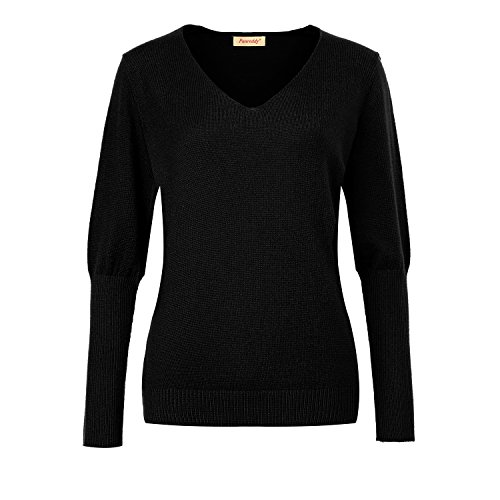- Panreddy Women Cashmere Blend Loose Batwing Sleeve Deep V-neck Pullover Sweater