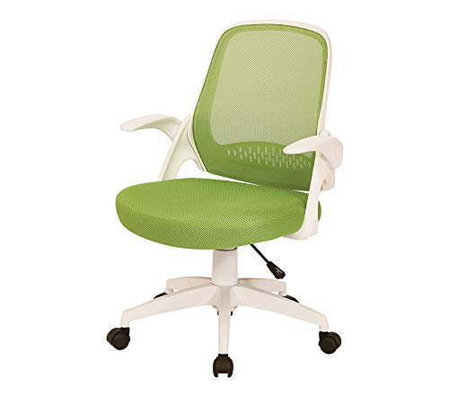 Wood & Style Office Home Furniture Premium Jackson Mesh Back and Padded Mesh Seat Office Chair with Folding Arms and White Accents, Green
