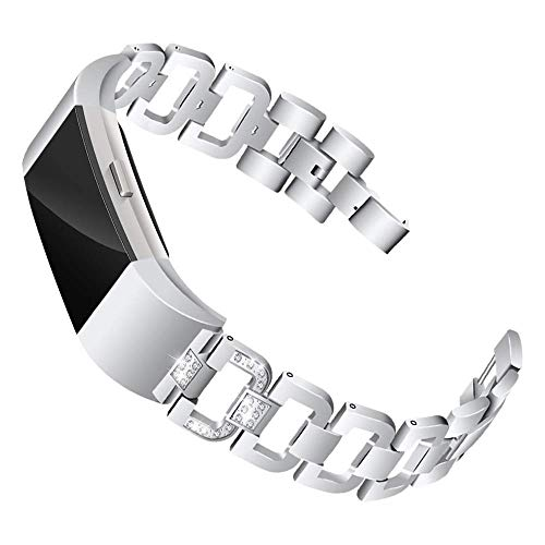 (Mtozon Bands Compatible Fitbit Charge 2, Metal Bands with Rhinestone Bling Replacement Bractlet Women, Silver)