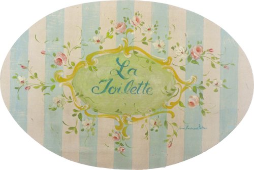 La Plaque Wall Toilette - Stupell Home Blue La Toilette Oval Bath Plaque