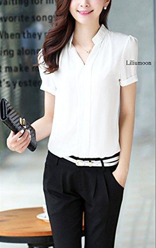 LiliumoonセンタータックデザインVネックゆるとろみシャツブラウストップスプルオーバー/長袖半袖ポケット付き3タイプ/シフォン無地きれいめレディースファッション/SMLXLXXLサイズ(XL,半袖・ホワイト)