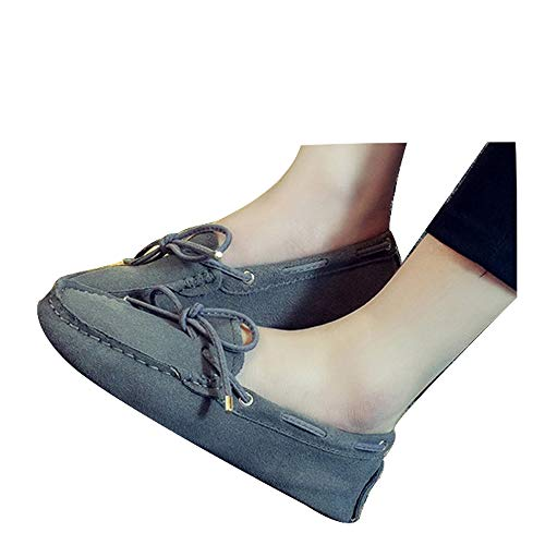 Lucky Exclusive Moccasin Slippers for Women Flat Casual Comfortable Loafer Shoes Womens Moccasin Slippers Spring Moccasins Shoes Dark Grey ()