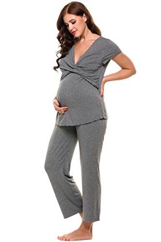 Ekouaer Nursing Pajamas Womens Maternity Pj Sets Breastfeeding Clothes Hospital