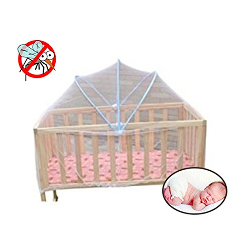 New Foldable Baby Kids Infant Nursery Bed Crib Canopy Safty Arch Mosquito Net Netting Play Tent House (White)