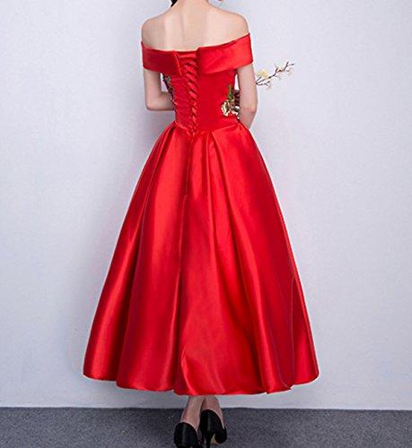 Elegante De Manga Larga De Gasa Largo Vestido De Noche Medio De Un Largo Rojo De La Novia Se Casó Red