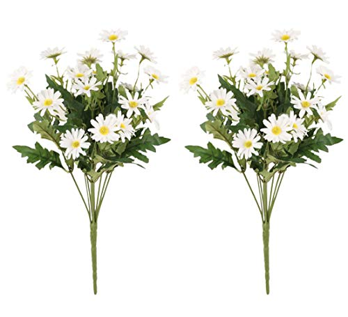 Gumolutin 2 PCS Artificial Silk Daisy Flower Bouquet for Home Table Centerpieces Arrangement Decoration, White