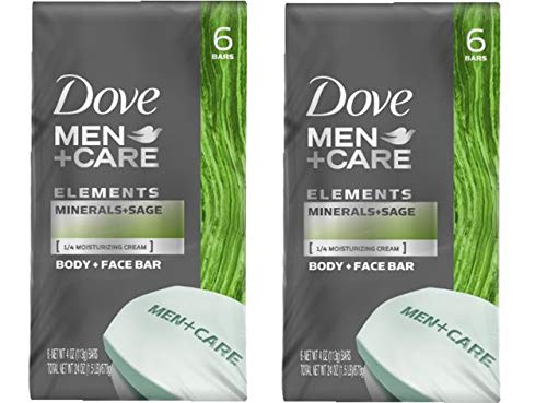 Dove Men+Care Body and Face Bar, Minerals + Sage 4 oz, 6 Bar (Pack of 2) (Dove Men Care Body And Face Bar)