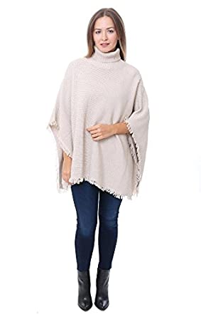 525 America Sweaters Fringe Shaker Beige Turtleneck Poncho , Beige , M/L at  Amazon Women\u0027s Clothing store