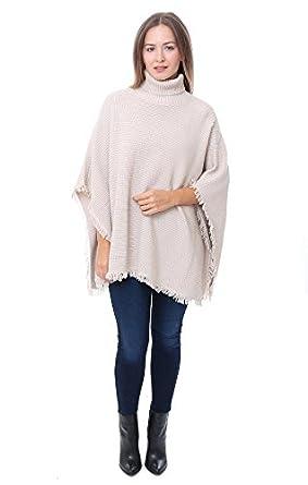 525 America Sweaters Fringe Shaker Beige Turtleneck Poncho , Beige , M/L at  Amazon Women\u0027s Clothing store