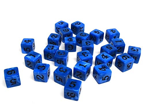 Army #1 D6 Collection - 25 Count Pack of Numbered 6 Sided Dice - Perfect for Tabletop War Games and RPGs