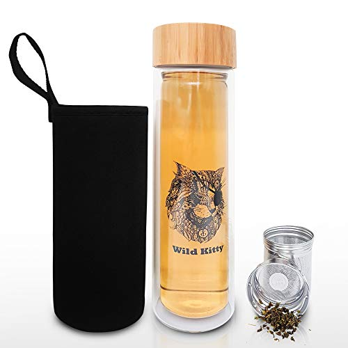 Glass Tea Tumbler with Infuser & Strainer for Loose Leaf or Iced Tea, Coffee, Fruit Water & Matcha. 17oz Cold Brew Coffee Mug w/Bamboo Lid + Travel Sleeve. BPA Free Travel Tea Mug. Cat Lover Gifts