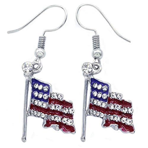 (4th of July Independence Day Stars Stripes American USA Flag Star Stud Post Dangle Earrings Charm (Flag Dangle - Slvr))