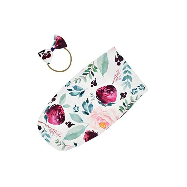 Newborn Swaddle Sack Cocoon Swaddle Wrap Infant Sage Sleeping Bag with Headband (Pink Floral)