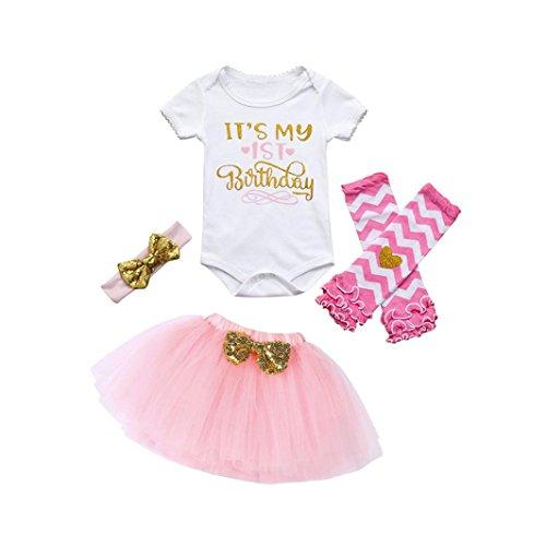 Forthery Toddler Girls 4Pcs Birthday Party Tutu Dress Romper+Skirt+Headband+Leg Warmers Set (0-6Months, Pink) ()