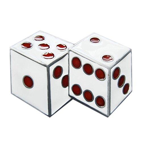 New White Enamel Dices Casino Gamble Vintage Belt Buckle Gurtelschnalle