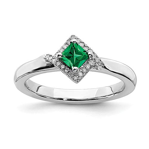 (925 Sterling Silver Created Green Emerald Diamond Band Ring Size 9.00 Stone Stackable Gemstone Birthstone May Fancy Fine Jewelry Gifts For Women For Her)