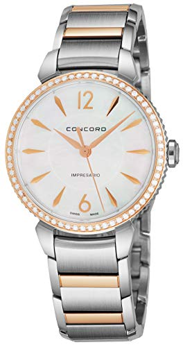 Concord Women Watches - Concord Impresario Womens Stainless Steel Diamond Swiss Quartz Watch - 32mm Mother of Pearl Dial and Sapphire Crystal - Swiss Made Classic Analog Ladies Dress Watch 0320320