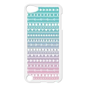 Aztec Colorful Pattern Bohemian Style Cat and Leaves Gradient Design Custom Cover Case For IPod touch5(White) with Best Plastic