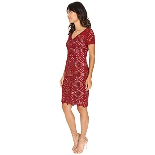 Free Shipping Nue By Shani Geometric V Neck Lace Dress With