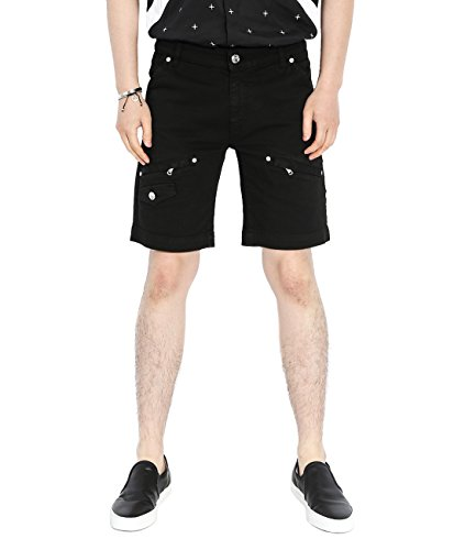 Wiberlux Pierre Balmain Men's Multi Pocket Rivet Studded Shorts 52 Black by Wiberlux