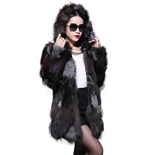 Fur Story Women's Long Real Silver Fox Fur Coat with Hood US - U Turn Sunglasses