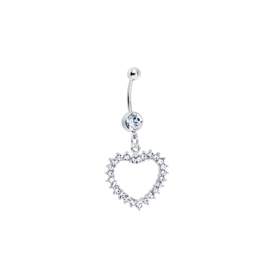 Crystalline Gem Heart Line Belly Ring