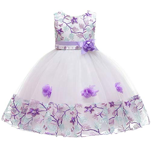 6-7T Purple Flower Pageant Party Big Girl Dress Tulle Lace Easter Church Spring Summer Wedding Bridesmaid Prom Dresses for Girls 6 7 Lilac Lavender