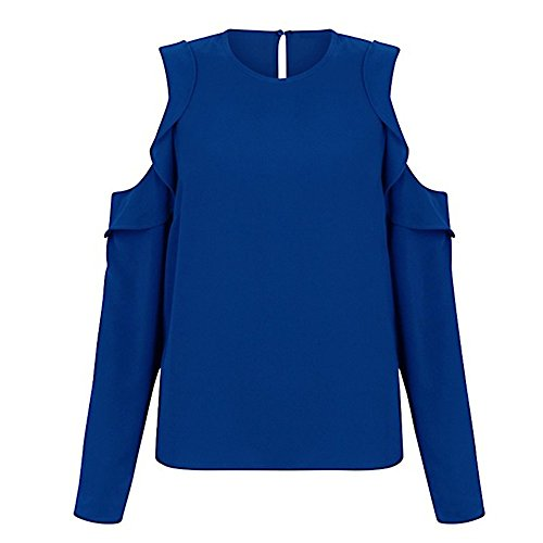 Mimfor Women Casual Loose Long Sleeve Strapless Chiffon Solid Blouse Tops Shirt (XXL, Blue) ()