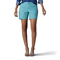 Lee Women's Straight Fit Tailored Chino Short, Green Park Gingham, 10