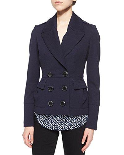- BURBERRY Brit Warrington Short Slim Pea Coat, Navy, Sz 4