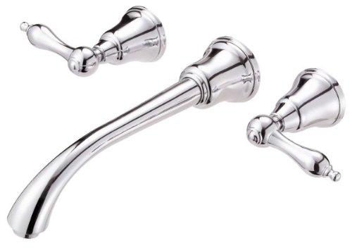 Chrome 2h Lavatory Faucet (Danze D316440T Fairmont 2H Trim Wall Mount Lavatory Lever Handle with Touch Down Drain)